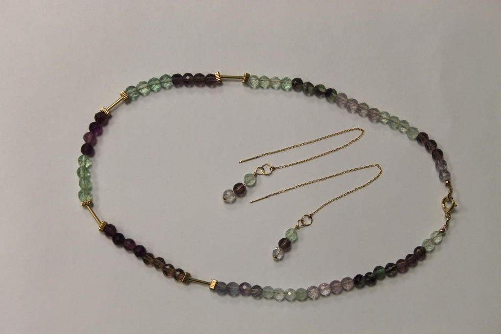 Necklace/Earrings Set: Flourite Stones and 14K Gold-Fill