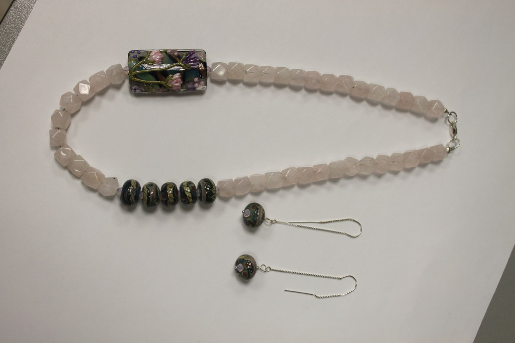 Necklace/Earrings Set: Sterling Silver with Rose Quartz and Swarovski Crystals