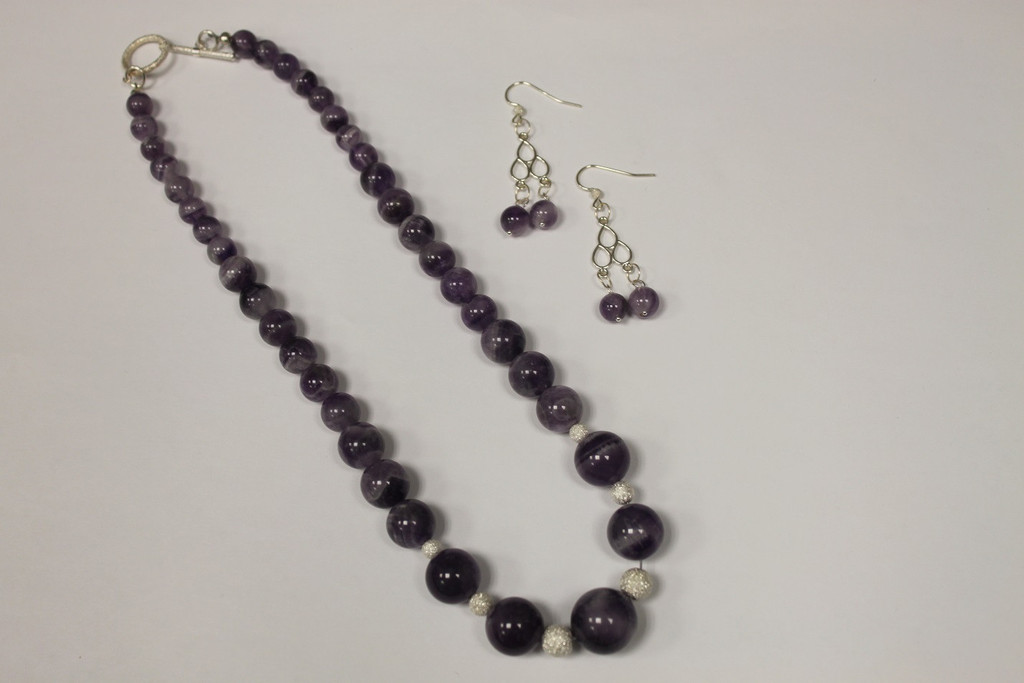 Necklace/Earrings Set: Purple Amethyst and Sterling Silver