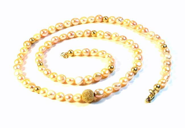 Necklace with Natural Pearls And 14K Gold-Filled Beads
