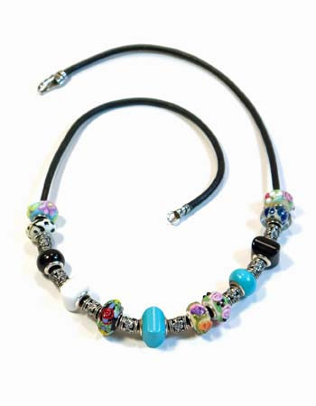 Black Leather, Turquoise and White/Black Agate Beaded Necklace