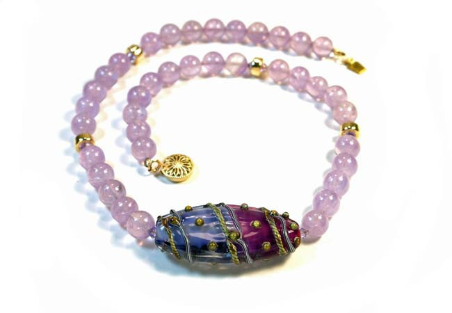 Pink Amethyst Necklace with Swarovski Crystal and 14K Gold-Filled Beads