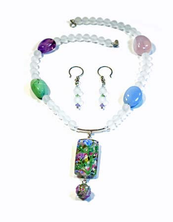 Necklace/Earrings Set: Frosted Crystal and Mixed Gemstones