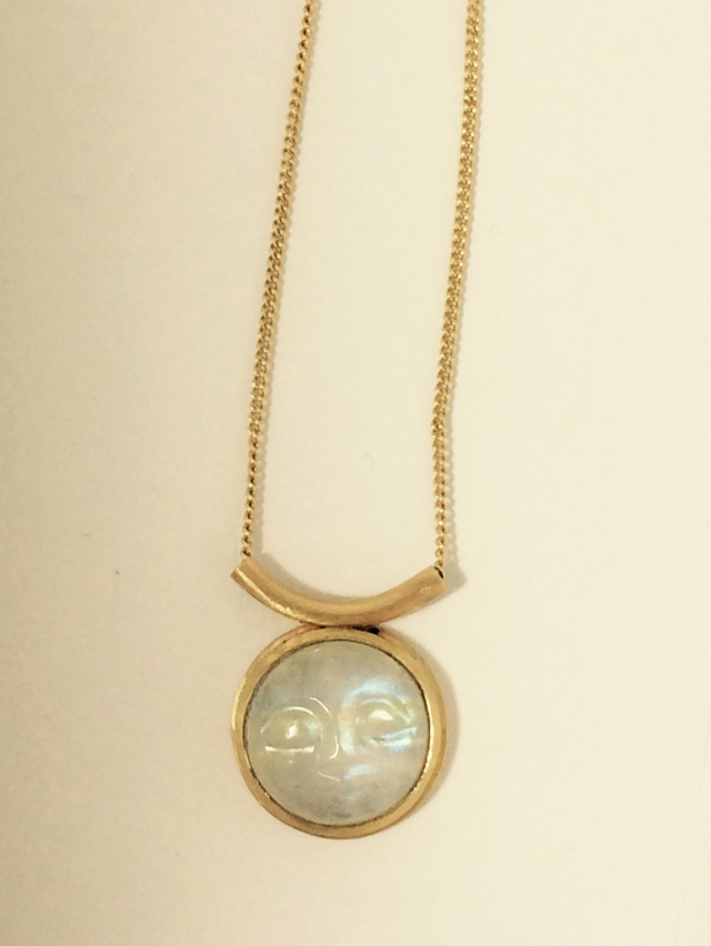 14K Gold Moonstone Necklace with Face