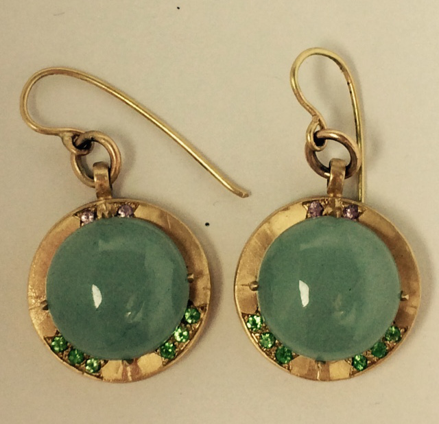 14K Gold Green Aquamarine Earrings