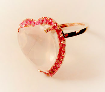 Rose Quartz and Pink Sapphire Ring