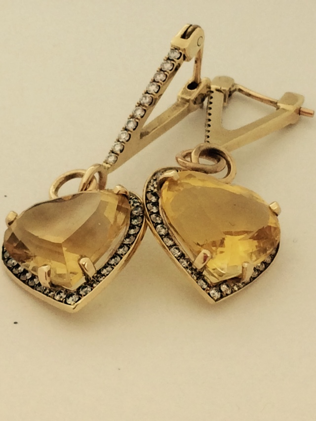 Citrine Heart Earrings