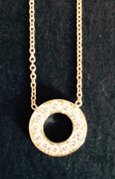 14K Gold Diamond Necklace O