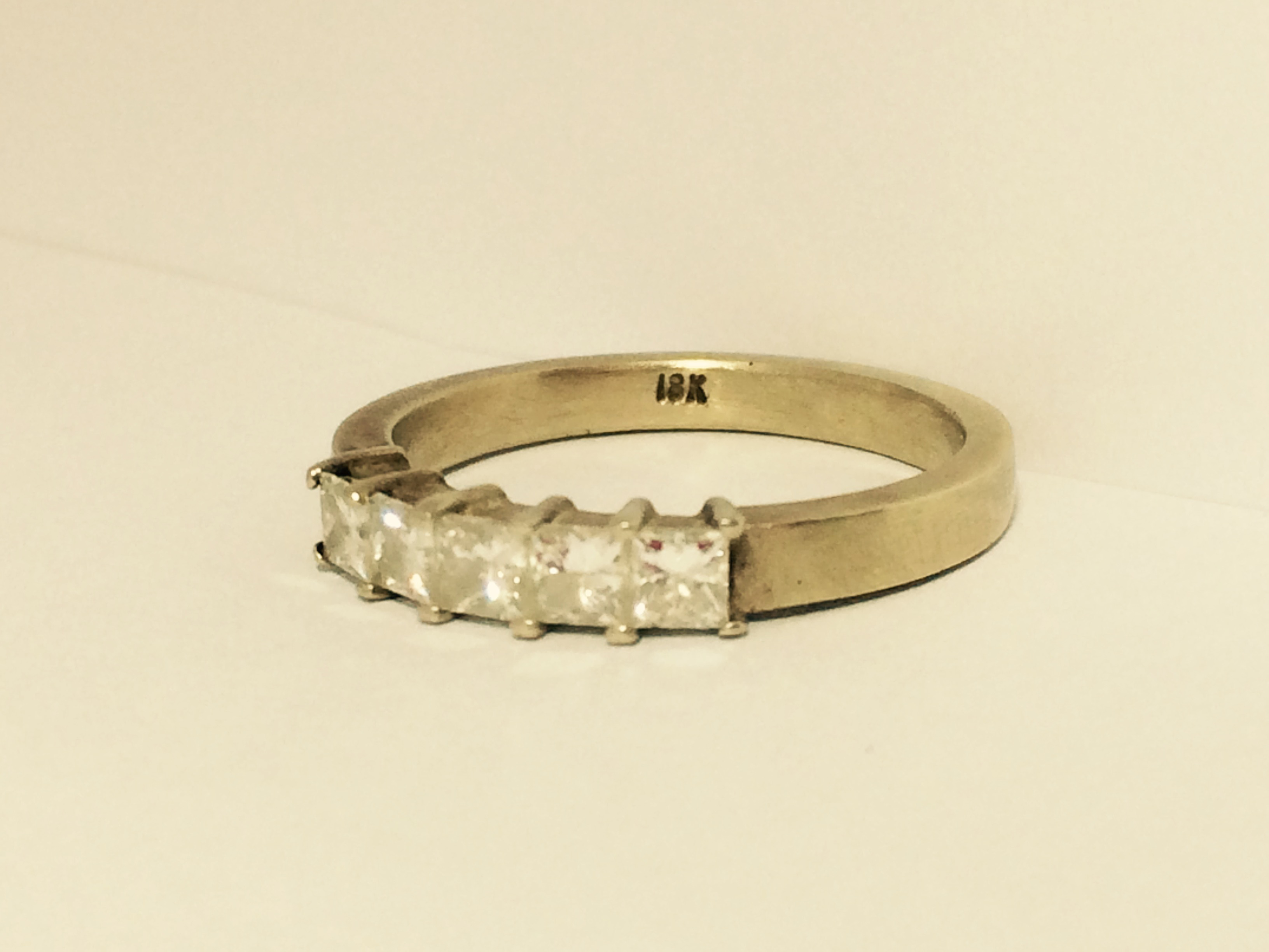 14K Gold Ring with 5 Square Diamonds