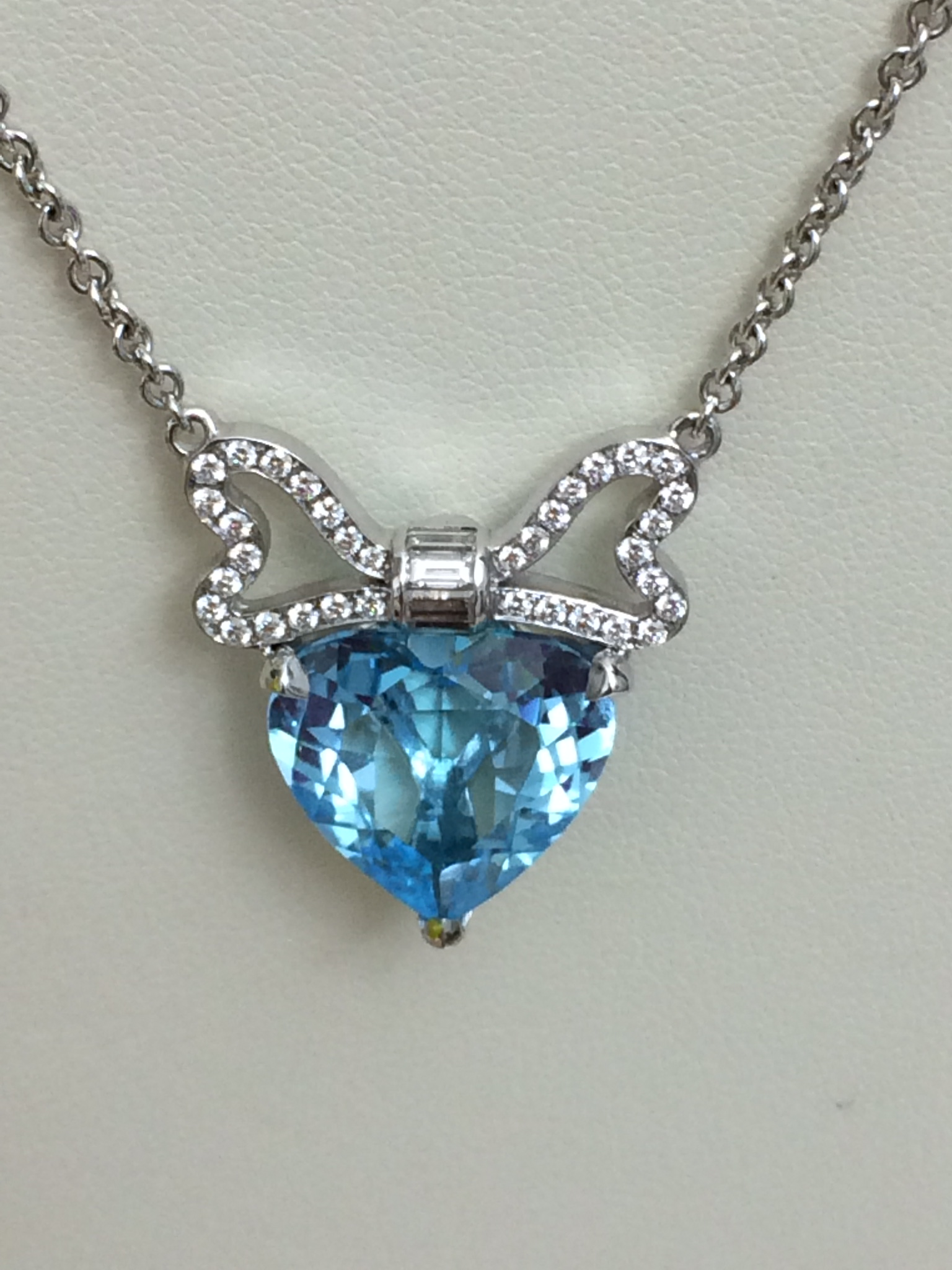 14K White Gold Necklace with Blue Topaz and Diamonds
