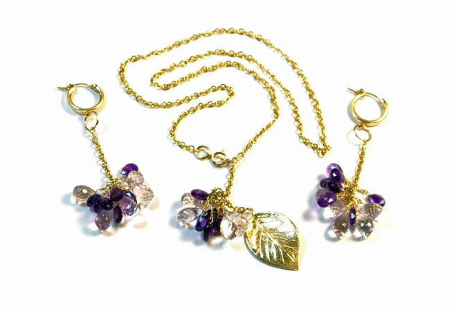 Necklace/Earrings Set: Amethyst, Pink Sapphires, and 14K Gold-Filled Leaf