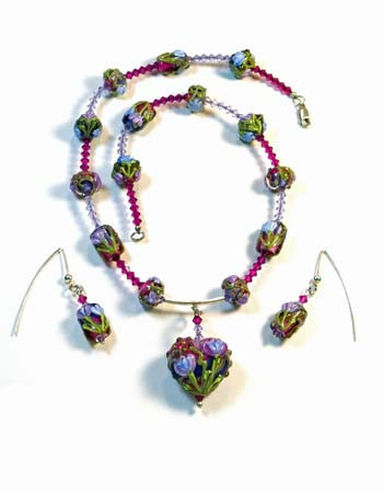 Necklace/Earrings Set: Handmade Lampwork, Swarovski Crystals, and Sterling Silver