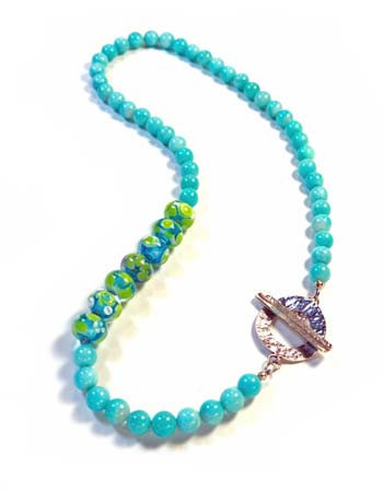 Amazonite and Handmade Lampwork Necklace