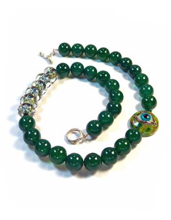 Green Agate Necklace with Lampwork Eye