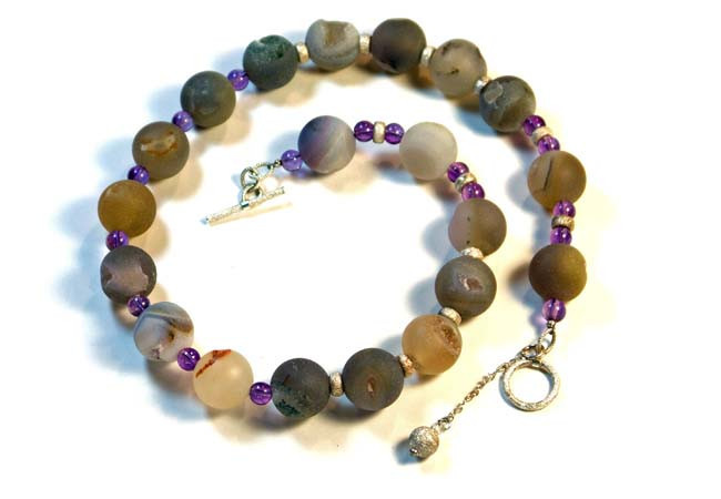 Frosted Natural Agate, Amethyst, Sterling Silver Beaded Necklace