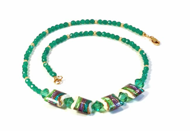 Green Agate Necklace with Handmade Lampwork 14k Gold-Filled Beads, and Swarovski Crystals