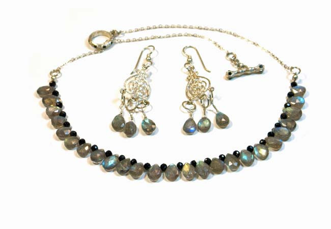 Necklace/Earrings Set: Labradorite and Black Spinel