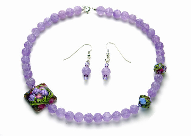 Necklace/Earrings Set: Lavender Amethyst and Handmade Lampwork with Swarovski Crystals