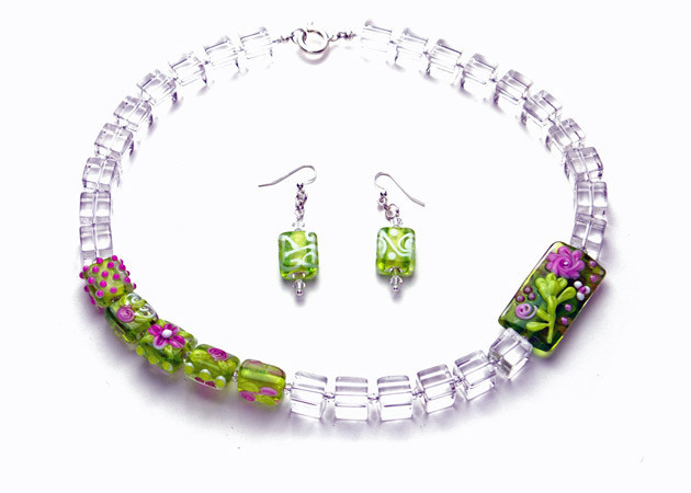 Necklace/Earrings Set: Crystal Quartz Cubes with Green and Purple Lampwork