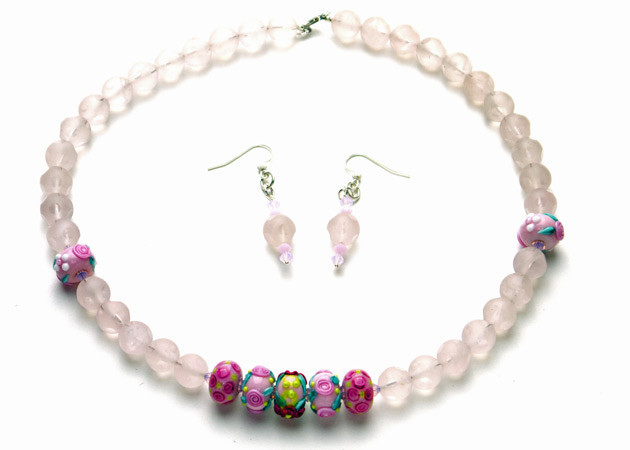 Necklace/Earrings Set: Asteroid Rose Quartz, Handmade Lampwork, and Swarovski Crystal