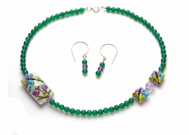 Necklace/Earrings Set: Green Agate, Amethyst, Handmade Lampwork, and Swarovski Crystals
