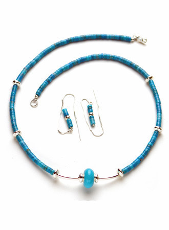 Necklace/Earrings Set: Turquoise Stones with Sterling Silver Beads/Clasps