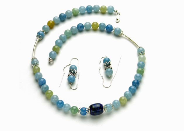 Necklace/Earrings Set: Aquamarine and Lapis Lazuli Beads with Sterling Silver