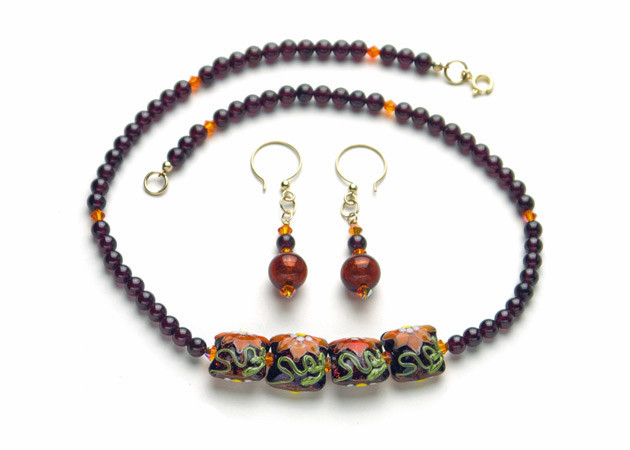 Necklace/Earrings Set: Garnet, Handmade Lampwork, Swarovski Crystal, 14k Gold-Filled