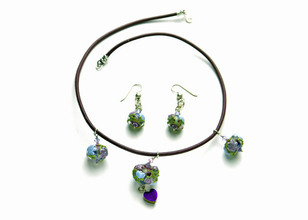 Necklace/Earrings Set: Leather Necklace, Handmade Lampwork, Quartz Hearts, Swarovski Crystal, and Sterling Silver