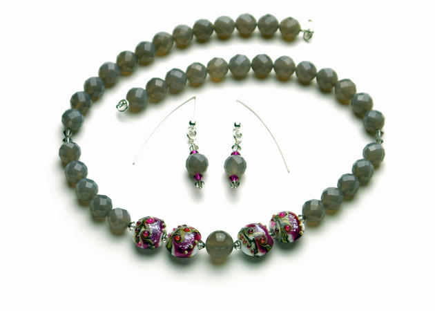 Necklace/Earrings Set: Grey Chalcedony, Handmade Lampwork, and Swarovski Crystal