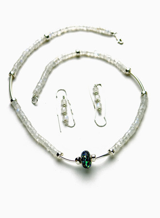 Necklace/Earrings Set: Moonstone, Abalone, and Sterling Silver Beads