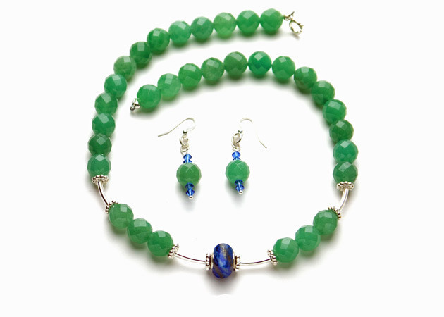 Necklace/Earrings Set: Aventurine and Lapis Lazuli Stones with Sterling Silver Beads/Clasps/Hooks