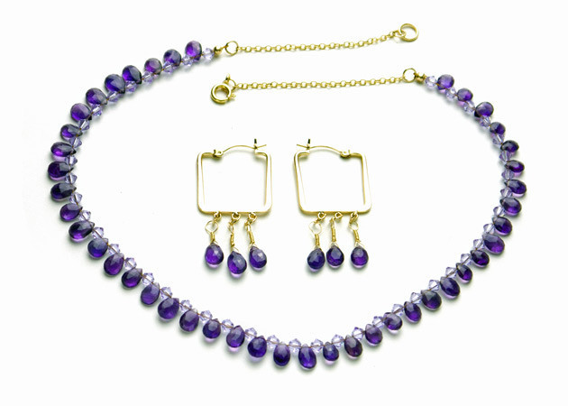 Necklace/Earrings Set: Amethyst and Swarovski Crystals with 14K Gold-Filled Chain