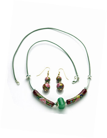 Necklace/Earrings Set: Grey Leather Necklace and Earrings with Green Aventurine and Tensha Beads