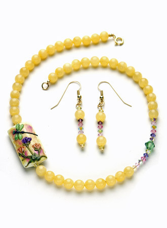 Necklace/Earrings Set: Yellow Jade Handmade Lampwork and Swarovski Crystals