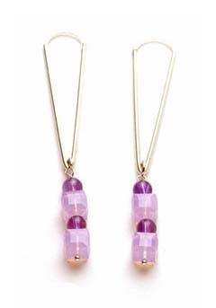 Pink Cube Swarovski Crystal and Amethyst Earrings