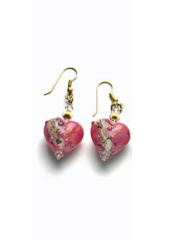 Rose Heart-Shaped Lampwork Earrings