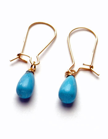 Turquoise and 14K Gold-Filled Earrings