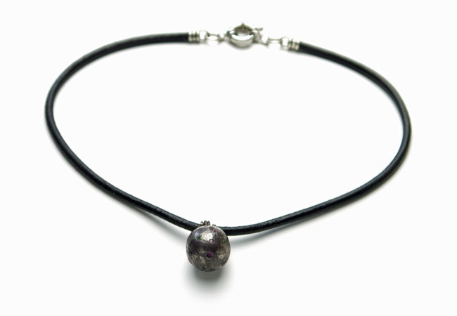 Handmade Oxidized Sterling Silver Ball Necklace