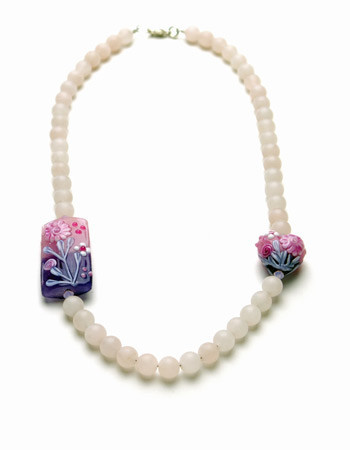 Frosted rose quartz necklace