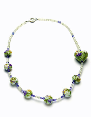 Green and Purple New Jade Necklace