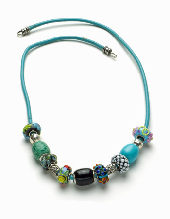 Turquoise Necklace with Lampwork, Black Agate, and Sterling Silver