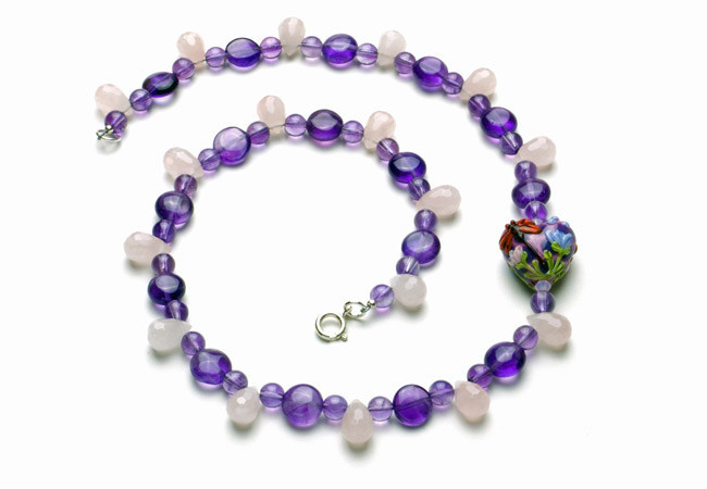 Amethyst, Rose Quartz, and Lampwork Necklace
