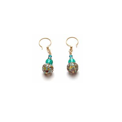 Pair of Earrings with Crystal Quartz, 14K Gold-Filled, Handmade Lampwork, and Swarovski Crystals