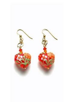 Orange Heart-Shaped Lampwork Earrings