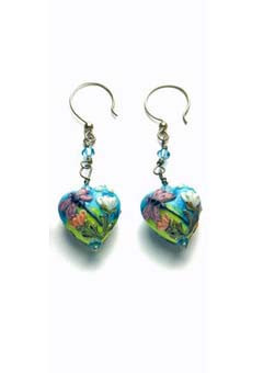 Blue and Green Heart-Shaped Lampwork Earrings
