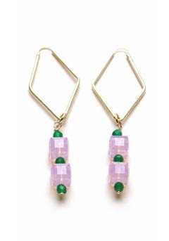 Pink Cube Swarovski Crystal and Green Agate Earrings
