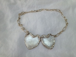 Silver Necklace with Silver Hearts